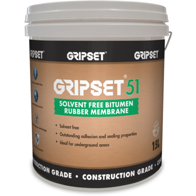 Gripset 51 solvent free Bitumen rubber membrane | Supplied by Earthco projects | waterproofing | protective sealing | construction grade | Protective coating for timber and metals and more