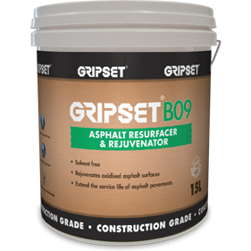 Gripset B09 asphalt resurfacer and rejuvenator earthco projects bitumen specialty products. | Sealcoat | Driveway resurface | road rehabilitation | Asphalt Paint