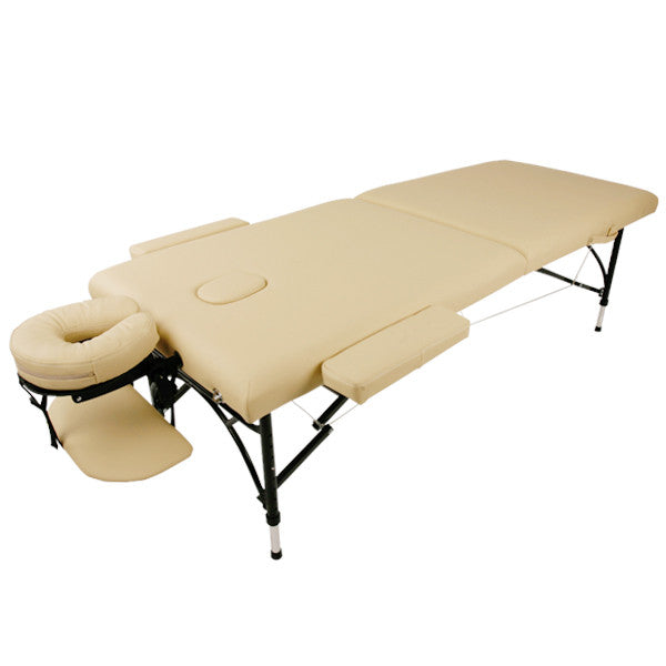 Portable massage table (Ivory color) L185cm x W70cm x H50-71cm