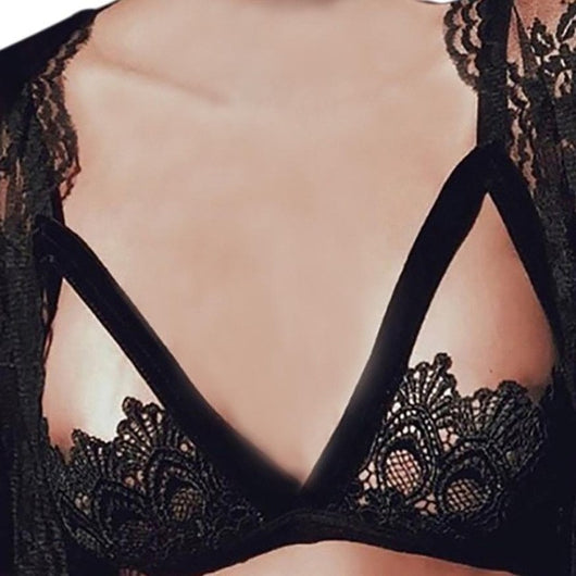 Sexy Lace Bra Women Sexy Alluring Crochet Lace Hollow Out Bra Caged Bandage Three Quarters  Everyday Lingerie Underwear