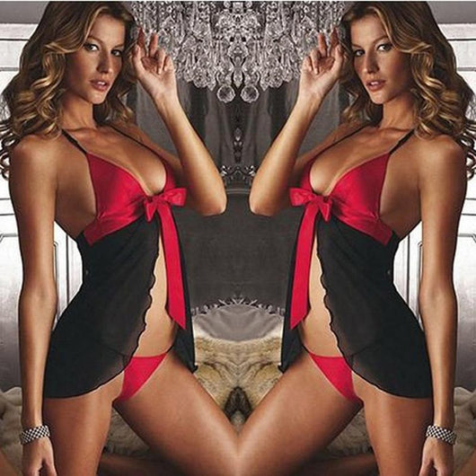 Sexy Women Black Lingerie Nightdress Dress + G String Underwear Set