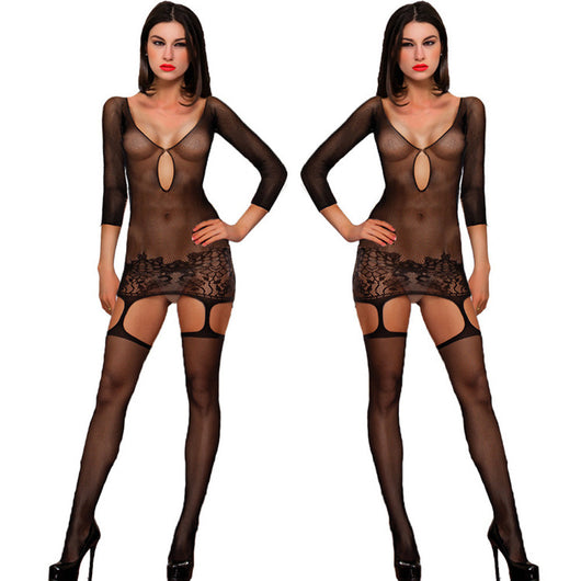 Sexy Women Long Sleeve Lingerie Lace Underwear Sleepwear jumpsuits