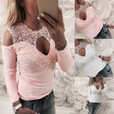Women Cold Shoulder Lace Long Sleeve Tops O Neck Hollow Blouse T Shirt Tee