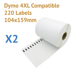 2 x Roll Dymo 4XL Compatible Large Shipping Labels 104x159mm (440 labels)