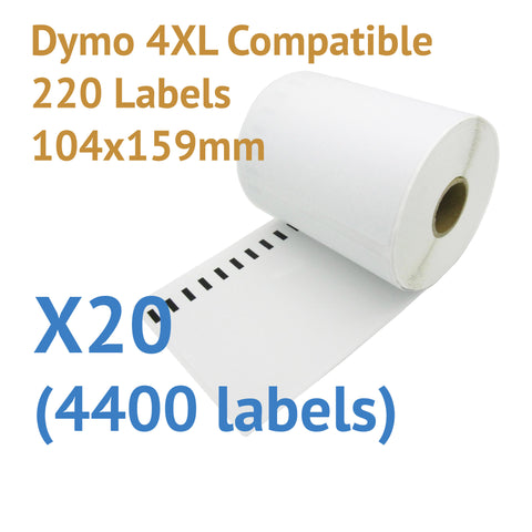 20 x Rolls Dymo 4XL Compatible Large Thermal Shipping Labels 104x159mm (4400 labels)