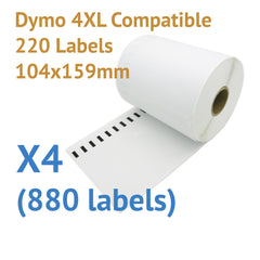 4 x Rolls Dymo 4XL Compatible Large Thermal Shipping Labels 104x159mm (880 labels)