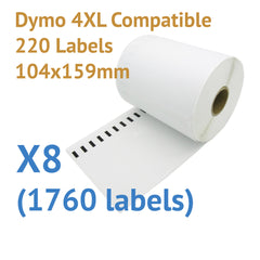 8 x Roll Dymo 4XL Compatible Large Thermal Shipping Labels 104x159mm (1760 labels)