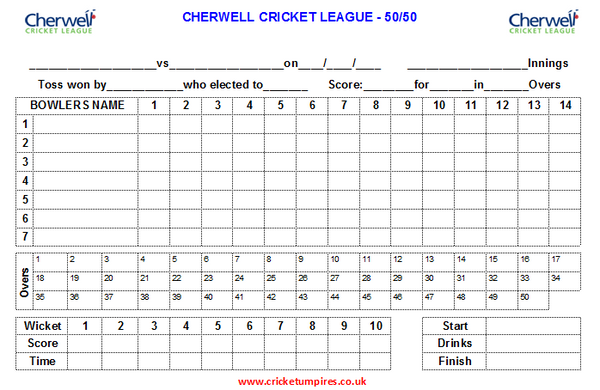 50 Over Match Card - 14 Overs Per Bowler - Cherwell Cricket League