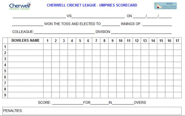 53 Over Match Card - 17 Overs Per Bowler - Cherwell Cricket League