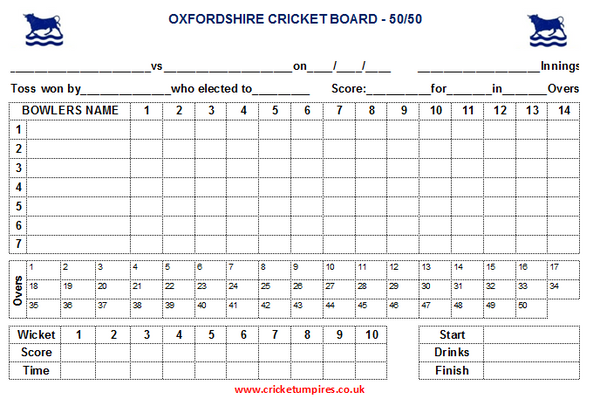 50 Over Match Card - 14 Overs Per Bowler - Oxfordshire Cricket Board