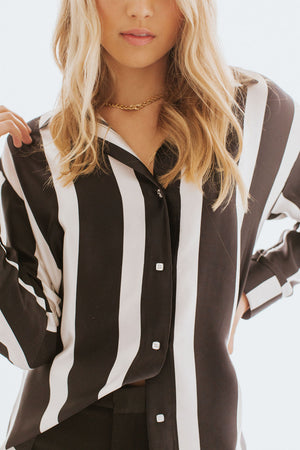 the GEORGE longsleeve in black stripe silk