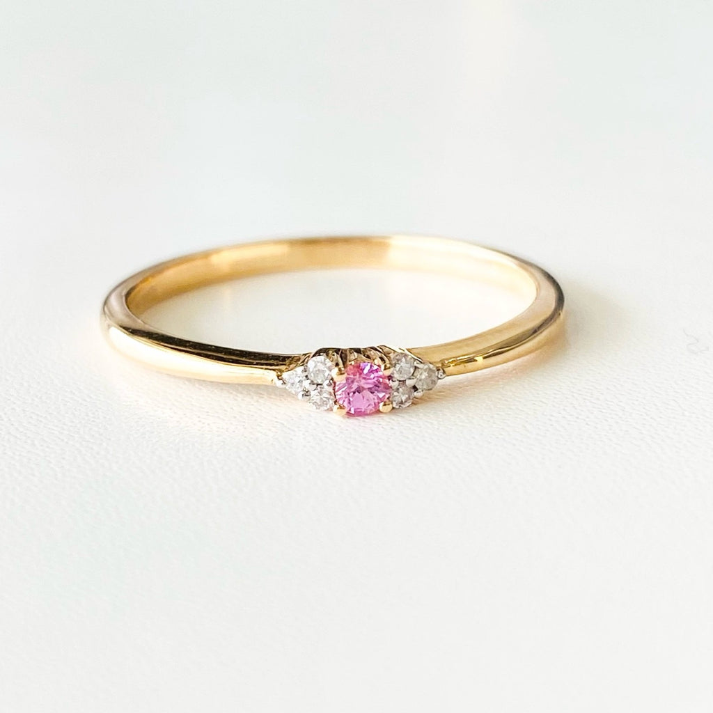 pink sapphire and diamond stacking ring