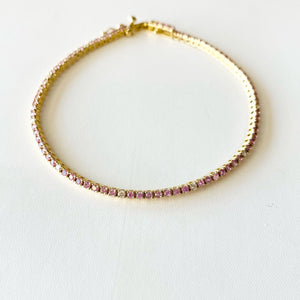 pink sapphire and diamond tennis bracelet