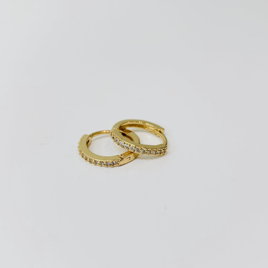 14k vermeil small diamond huggies