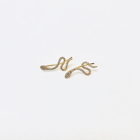 snake diamond earrings
