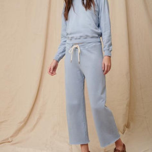 blue wide leg cropped sweatpants