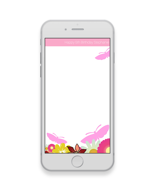Pink Butterfly Kids Birthday Geofilter-Kids Party-The Geo Factory-The Geo Factory