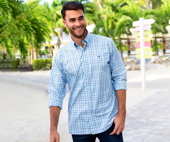 Southern Marsh Blue and Navy Check Dress Shirt