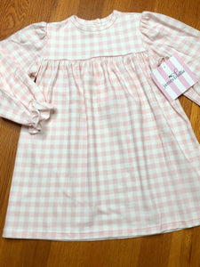 James and Lottie Peggy Pink Gingham Knit Dress
