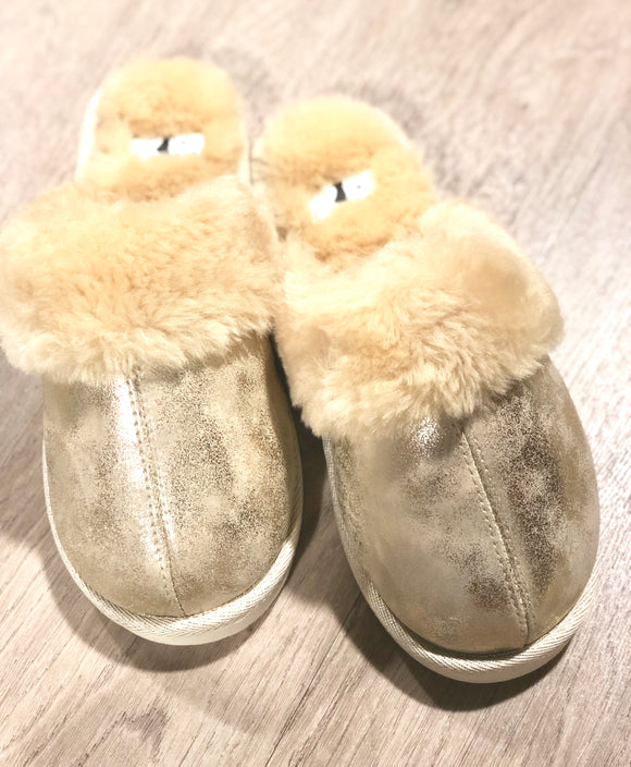 Corky Metallic Gold Slippers
