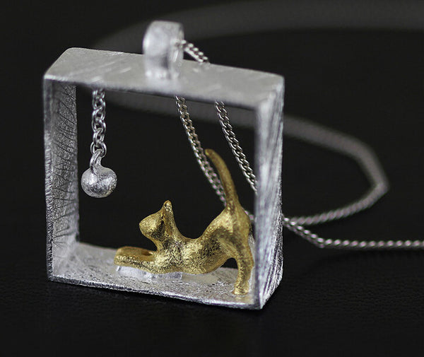 925 Sterling Silver Cat Necklace - Gold Cat