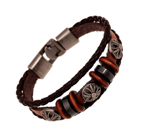 Leather Braided Charm Bracelets