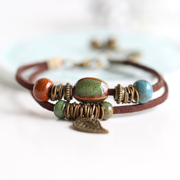 Bohemia Handmade Bracelet with Green Bead