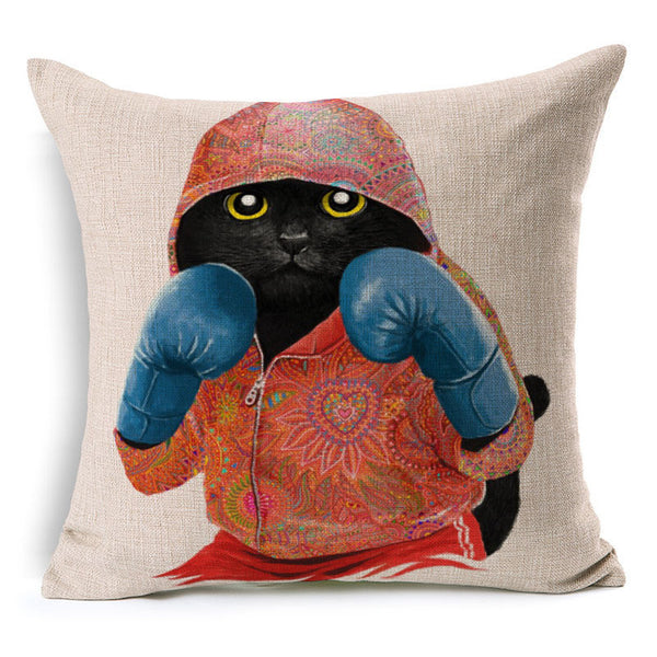 Cat Boxing Pillow Case