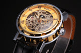 Classic Black Leather Gold Dial Skeleton Mechanical Sport Army Wrist Watch