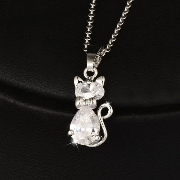 Silver Crystal Cat Pendant