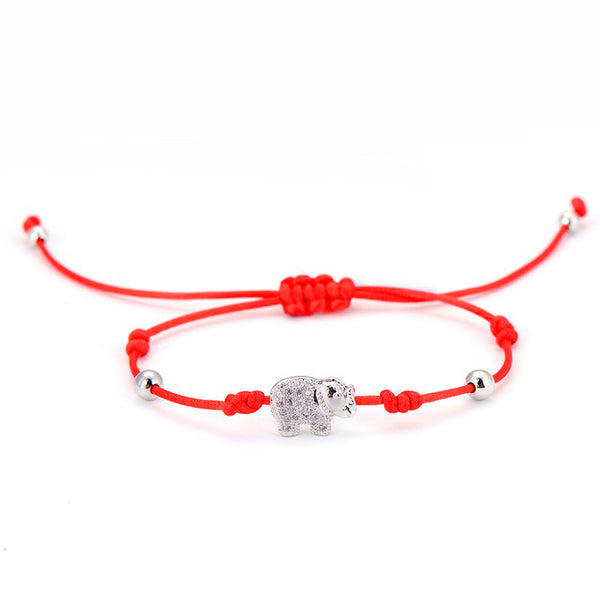 Elephant Blessed Lucky Red String Bracelet