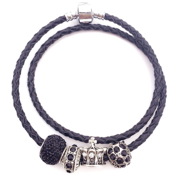 Double-layer Leather Bracelet with 925 Silver Charm