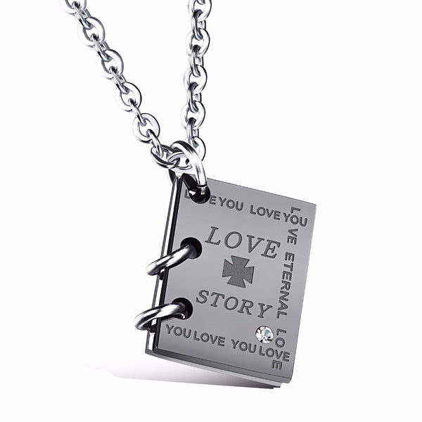 Love Story Book Necklace