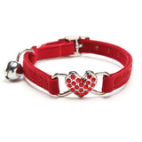 Red Cat Collar with Heart and Bell Charm