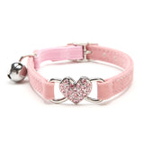 Pink Cat Collar with Heart and Bell Charm