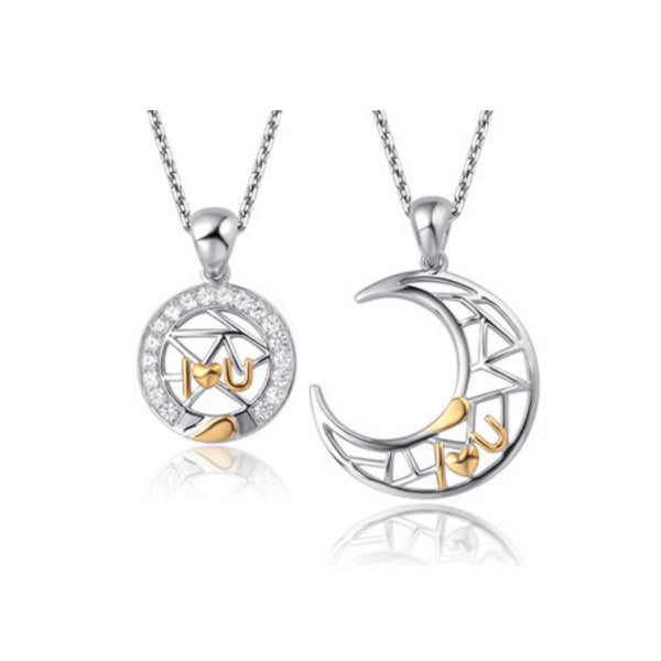 AAA 100% 925 Silver Moon Necklaces for Couples