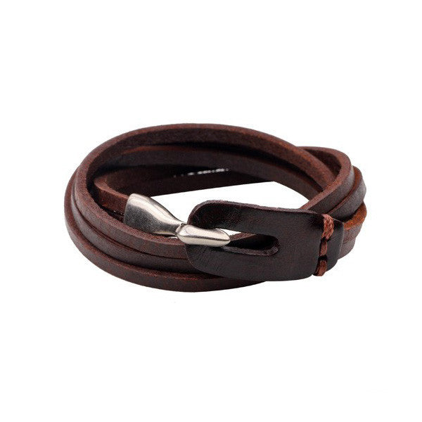 Multilayer Leather Bracelet with Vintage Hooked-Brown