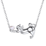 925 Sterling Silver Cat Charm Pendant Necklace