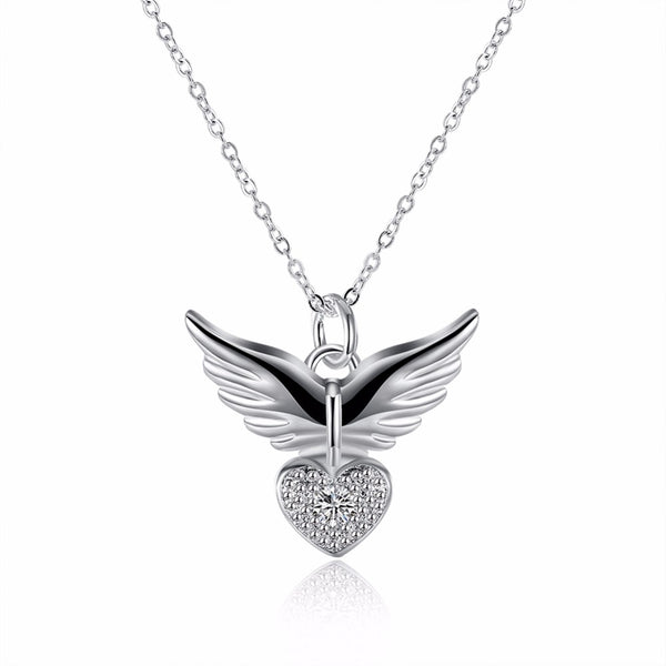 Silver Love Heart Angle Wing Pendant