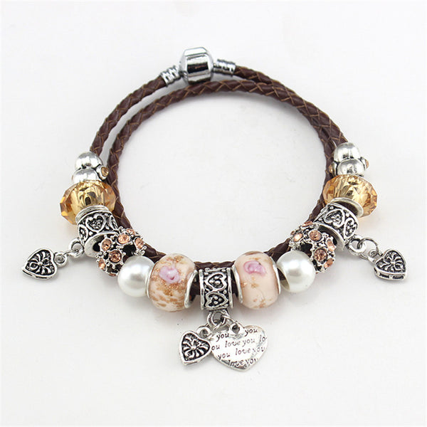 Charm Braided Leather Bracelet