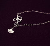 Simple-Bird-and-Leave-Silver-Necklace