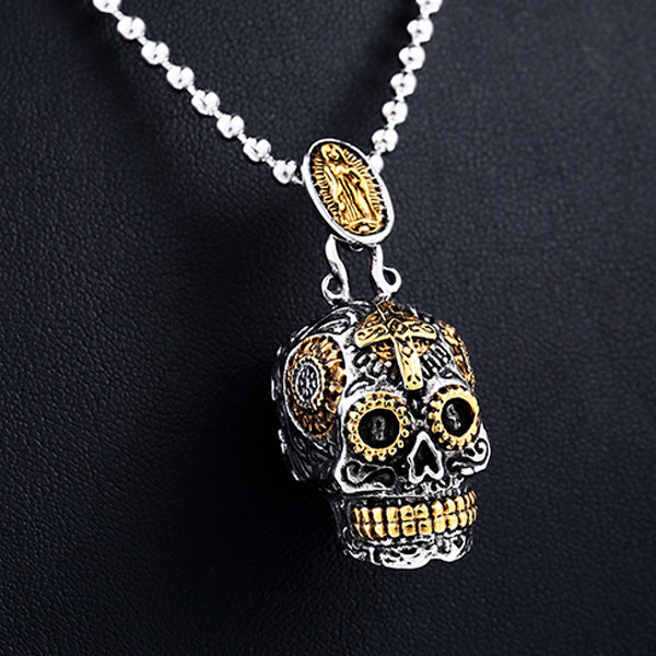 Skull Man Steel Necklace - gold and silver