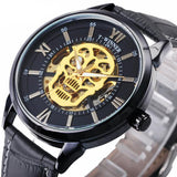 Unique Golden Skull Skeleton Wristwatch