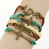 Vintage Multilayer Charm Leather Bracelet, Love and believe, Anchor and Cross