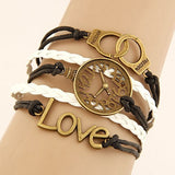 Vintage Multilayer Charm Leather Bracelet, Love and Cuff