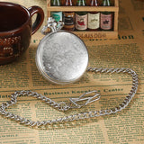 Carving Silver Case Pocket Watch, Father's Day gift, Birthday's gift, surprise's gift