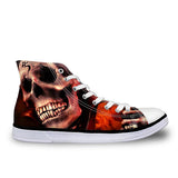 Skull Printed Lace-Up High Top Canvas Shoes