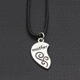 Mother and Daughter Half Heart Pendant Leather Necklace
