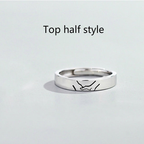 925 Sterling Silver Hand in Hand Sweet Couple Rings