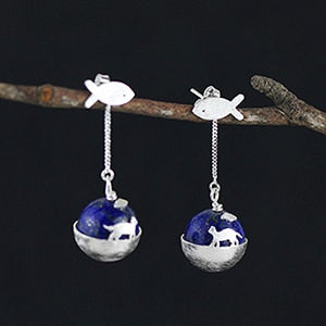 Handmade 925 Sterling Silver Natural Lapis Cat Earrings